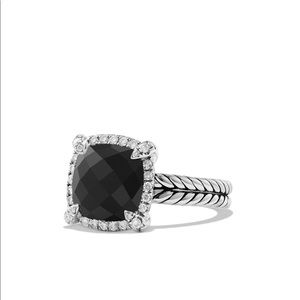 David Yurman Chatelaine Pave Bezel Ring Onyx